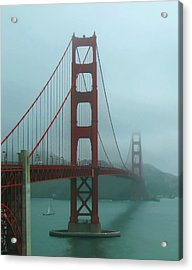 Golden Gate Bridge And Partial Arch In Color  Acrylic Print by Connie Fox