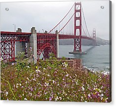Golden Gate Bridge And Summer Flowers Acrylic Print by Connie Fox