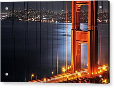 Golden Gate Bridge And Supermoon Acrylic Print