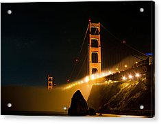 Golden Gate Bridge At Night In The Fog Acrylic Print