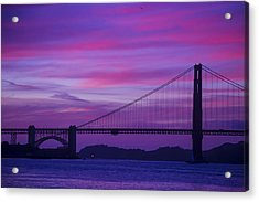 Golden Gate Bridge At Twilight Acrylic Print by Garry Gay