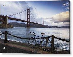 Golden Gate Bridge Bike Ride Acrylic Print by Mel Ashar