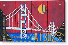 Golden Gate Bridge California Recycled Vintage License Plate Art On Red Distressed Barn Wood Acrylic Print