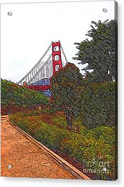Golden Gate Bridge Crosshatch Acrylic Print