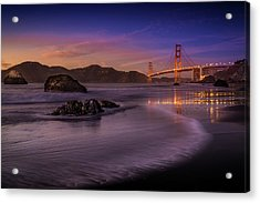 Golden Gate Bridge Fading Daylight Acrylic Print by Mike Leske