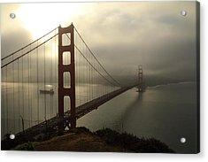 Acrylic Print featuring the photograph Golden Gate Bridge Fog Lifting by Scott Rackers