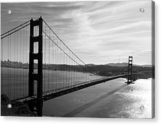 Acrylic Print featuring the photograph Golden Gate Bridge In Black And White by Frank Bright