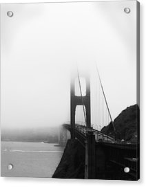 Golden Gate Bridge In Fog ... Sausalito Side Acrylic Print by Chuck Caramella