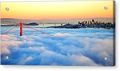 Golden Gate Bridge In Fog At Sunset Acrylic Print