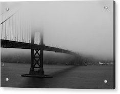 Golden Gate Bridge In Fog Acrylic Print by Chuck Caramella
