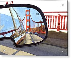 Golden Gate Bridge In Side View Mirror Acrylic Print by Mary Helmreich