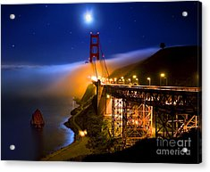 Golden Gate Bridge Moon Fog Mystery Acrylic Print
