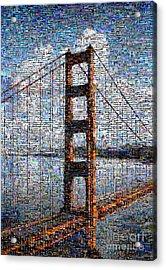Golden Gate Bridge Mosaic Acrylic Print by Wernher Krutein