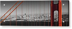 Golden Gate Bridge Panoramic Downtown View Acrylic Print by Melanie Viola