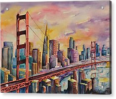 Golden Gate Bridge - San Francisco Acrylic Print by Joy Skinner