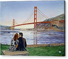 Golden Gate Bridge San Francisco - Two Love Birds Acrylic Print