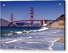 Golden Gate Bridge - Seen From Baker Beach Acrylic Print by Melanie Viola