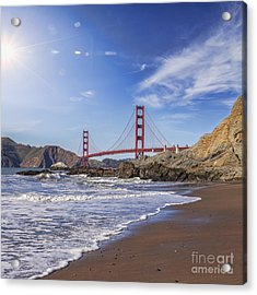 Golden Gate Bridge With Sun Flare Acrylic Print by Colin and Linda McKie