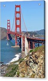 Golden Gate Acrylic Print by Gina Savage