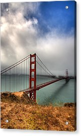 Golden Gate In The Clouds Acrylic Print by Peter Tellone
