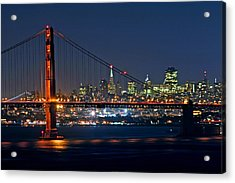 Acrylic Print featuring the photograph Golden Gate Night 10-26-10 by Christopher McKenzie