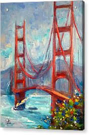 Golden Gate Oil Sketch Acrylic Print