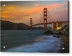 Golden Gate Acrylic Print by Peter Irwindale