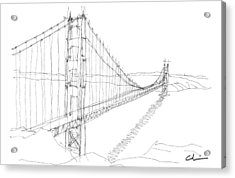 Golden Gate Sketch Acrylic Print by Calvin Durham