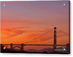 Golden Gate Sunset Acrylic Print by Kate Brown