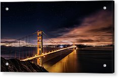 Golden Gate To Stars Acrylic Print by Javier De La