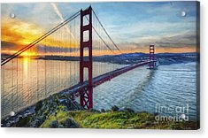 Golden Gate Acrylic Print by Veikko Suikkanen