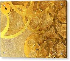 Golden Gears Background Acrylic Print by Tomislav Zivkovic