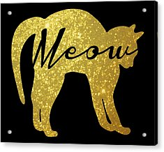 Golden Glitter Cat - Meow Acrylic Print by Pati Photography