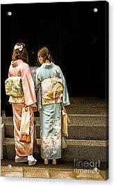Golden Glow - Japanese Women Wearing Beautiful Kimono Acrylic Print