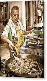 Golden Glow - South East Asian Street Vendor Cooking Food At His Stall Acrylic Print