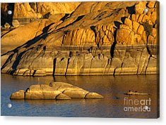 Golden Granite Glow Acrylic Print by Mike  Dawson