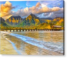 Golden Hanalei Morning Acrylic Print by Dominic Piperata