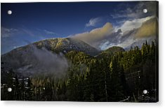 Acrylic Print featuring the pyrography Golden Hills Before Sunset. by Timothy Latta