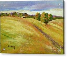 Golden Hills Acrylic Print by Sally Simon