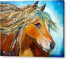 Acrylic Print featuring the painting Golden Horse by Jenny Lee