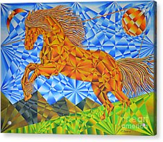 Golden Horse Over The Bitterroot's Acrylic Print