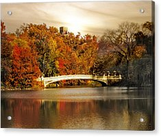 Golden Hour At Bow Bridge Acrylic Print by Jessica Jenney