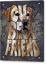 Golden Labrador Retriever Typography Art Acrylic Print by Georgeta Blanaru