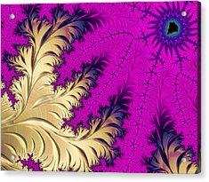 Golden Leaves On Flower Acrylic Print