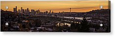 Golden Light On The City Seattle Acrylic Print by Mike Reid