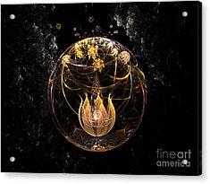 Golden Lotus In Deep Space Acrylic Print by Peter R Nicholls