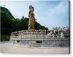 Golden Maitreya Statue, Beopjusa Temple Acrylic Print by Michael Runkel