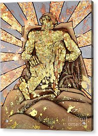 Golden Man On The Precipice Acrylic Print
