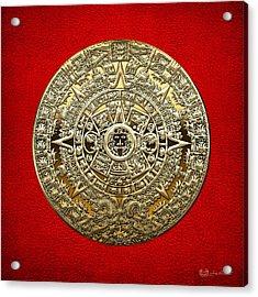 Golden Mayan-aztec Calendar On Red Acrylic Print by Serge Averbukh