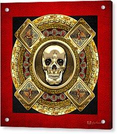 Golden Mictlantecuhtli - Aztec God Of Death Acrylic Print by Serge Averbukh